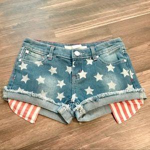 Free Planet Stars & Stripes Flip Cuff Denim Shorts